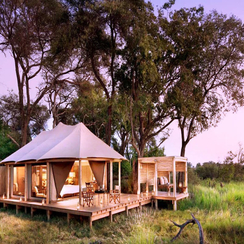 Luxury tent with glass wall
