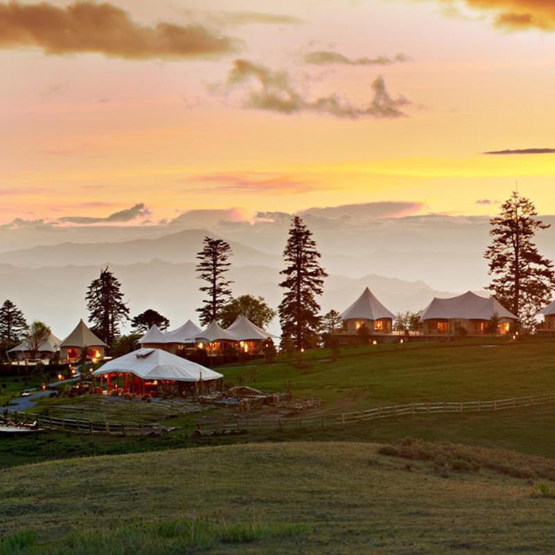 Modular steel-wood frame luxury tents for resort